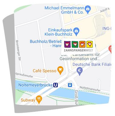 Karte Anfahrt Zahnspangenwelt Bothfeld in Hannover