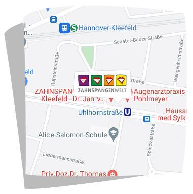 Karte Anfahrt Zahnspangenwelt Kleefeld in Hannover